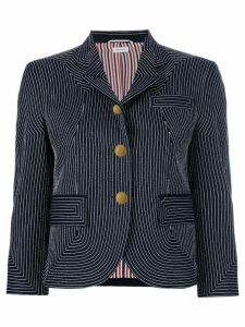 Thom Browne Embroidered Flannel Sport Coat - Blue