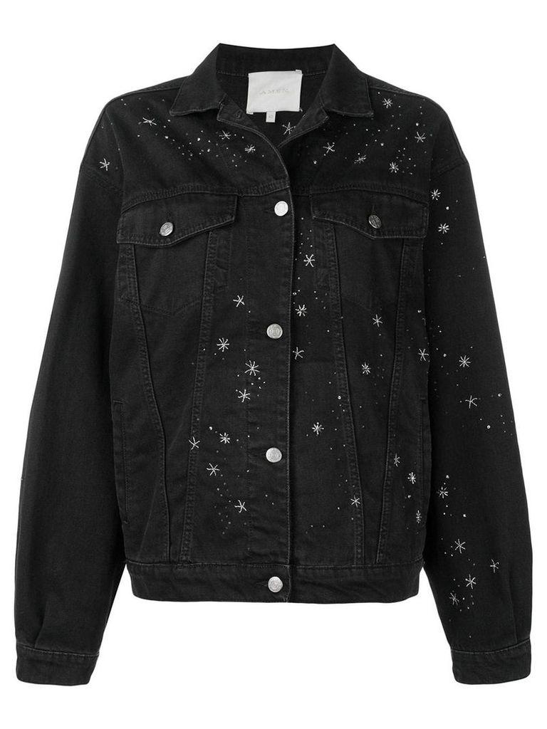 Amen bead embroidered denim jacket - Black