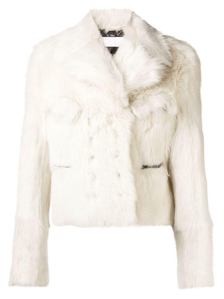 Chloé butter cream shearling jacket - Neutrals