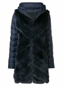 Liska rabbit fur padded coat - Blue