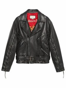 Gucci Leather jacket with Gucci mushrooms - Black