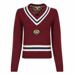 Burberry Embroidered Crest Wool Sweatshirt