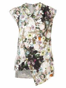 Adam Lippes floral asymmetric top - White