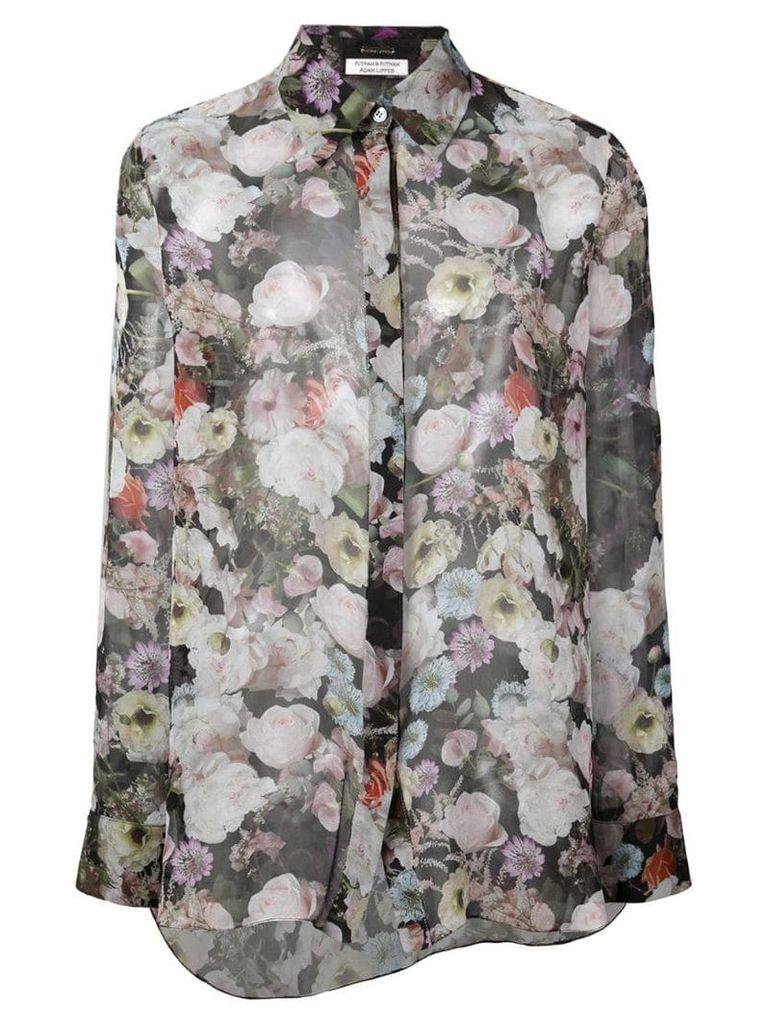 Adam Lippes sheer floral blouse - Black