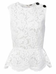 Adam Lippes corded lace peplum top - White