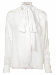 Loewe tie neck blouse - White