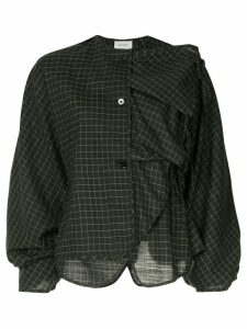 Lemaire ruffled check blouse - Black