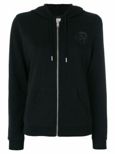 Diesel chest print zipped hoodie - Black