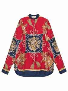 Gucci Oversize shirt with flowers and tassels - Red