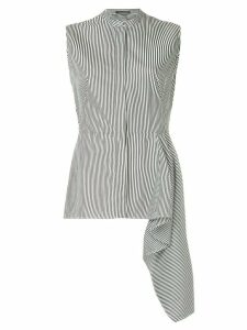 Alexander McQueen sleeveless peplum striped shirt - Black