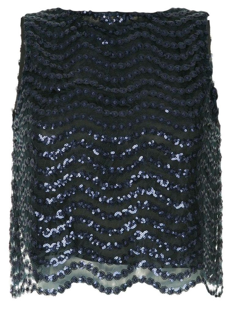 Alice+Olivia sequin embellished mesh top - Blue