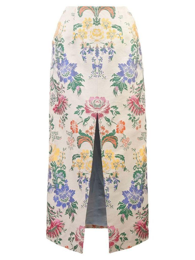 Carolina Herrera floral patterned straight skirt - Neutrals