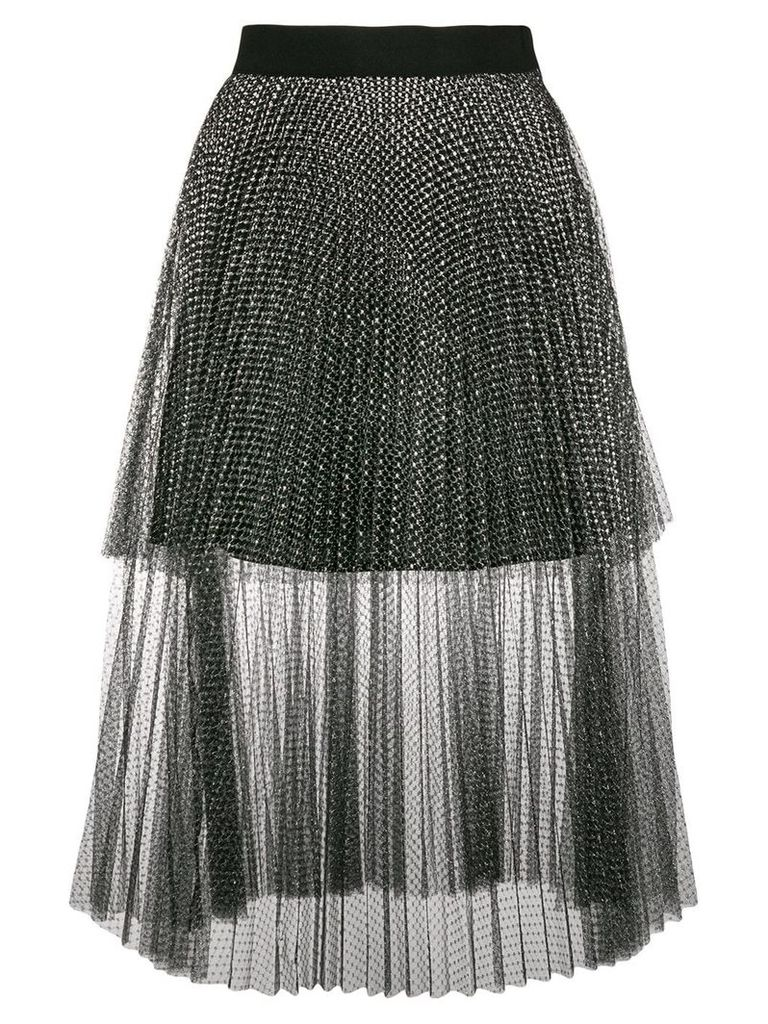 Christopher Kane metallic tulle tiered skirt - Black