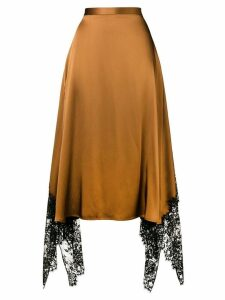 Christopher Kane lace trim satin skirt - Brown