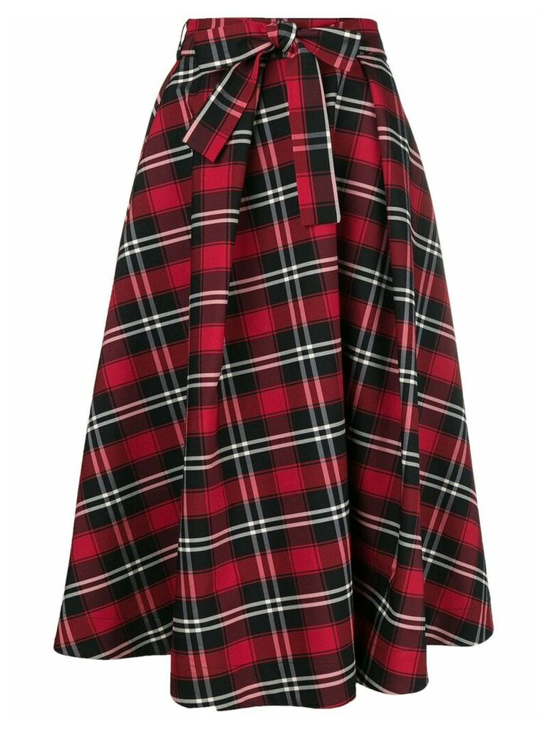 MSGM checked midi skirt - Red