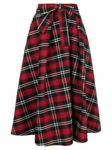 MSGM checked midi skirt - Red