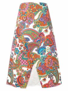 Ports 1961 printed A-line skirt - White