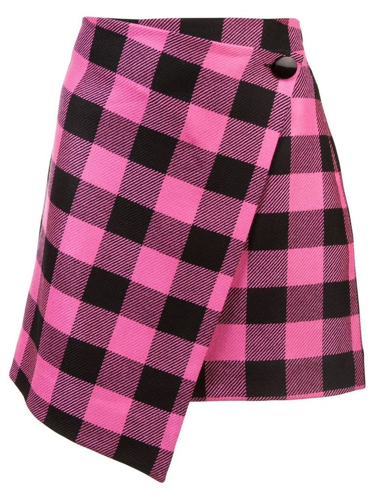 Milly asymmetric checked skirt - Pink