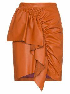 Isabel Marant nela frill trim leather mini skirt - Orange