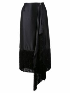 Marques'Almeida fringed asymmetric skirt - Black