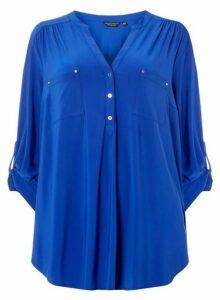 Womens **Dp Curve Cobalt Button Jersey Shirt- Cobalt, Cobalt