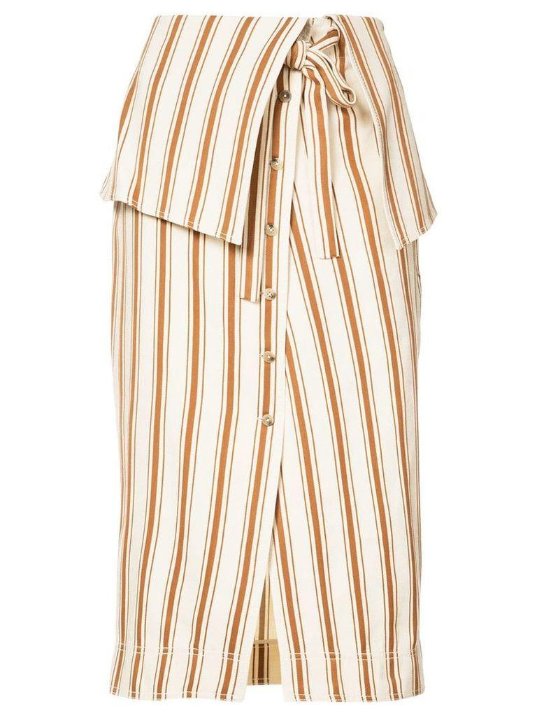 Rosie Assoulin folded waist striped skirt - Neutrals