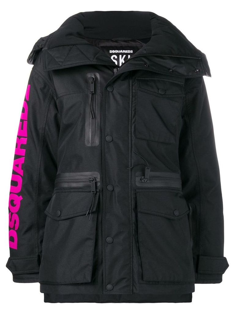 Dsquared2 logo print padded coat - Black
