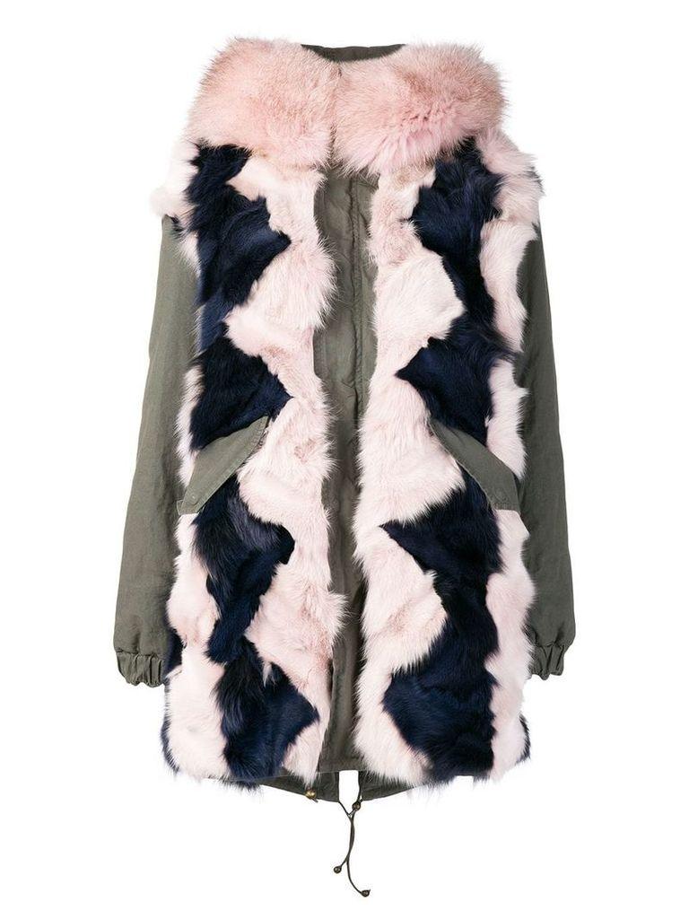 Mr & Mrs Italy colour-block fur parka coat - Green