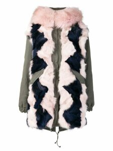 Mr & Mrs Italy colour-block fur parka coat - Green