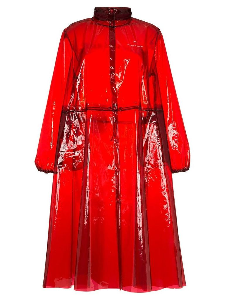 Marine Serre logo print hooded PVC rain coat - Red