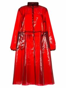 Marine Serre logo print hooded PVC rain coat - Red
