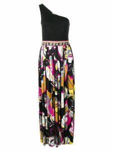 Emilio Pucci Frida Print Silk One Shoulder Evening Dress - Black