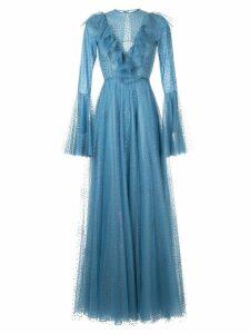 Costarellos ruffle sleeve tulle dress - Blue