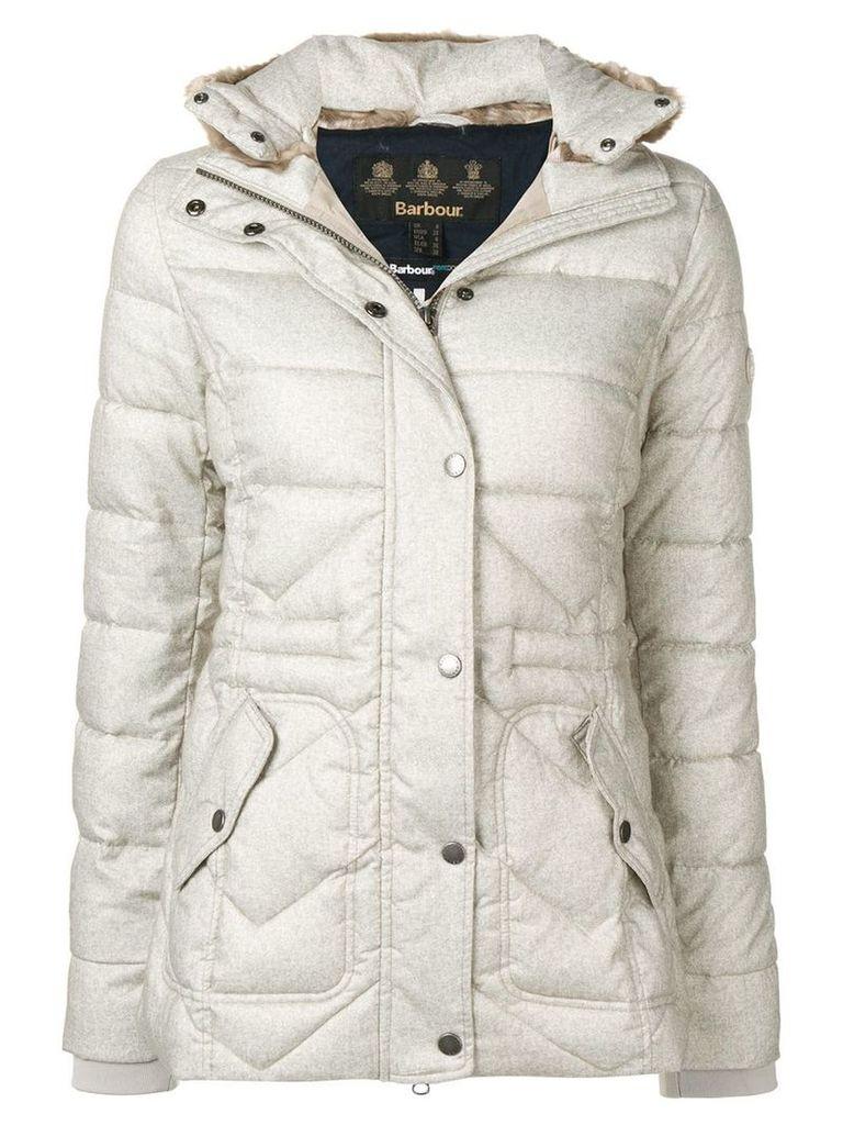 Barbour fur collar padded jacket - Neutrals
