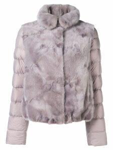 Liska panelled puffer jacket - Purple