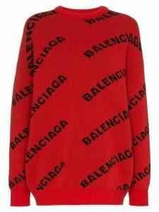 Balenciaga logo print wool jumper - Red