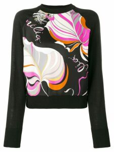 Emilio Pucci Frida Print Wool-Silk Blend Jumper - Black