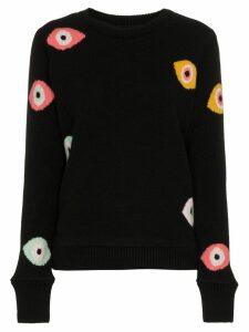 The Elder Statesman eye intarsia knitted sweater - Black