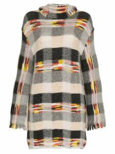 Missoni check hooded cashmere alpaca blend mini dress - Black