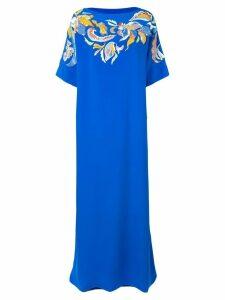 Emilio Pucci Floral Embroidered Silk Kaftan Dress - Blue