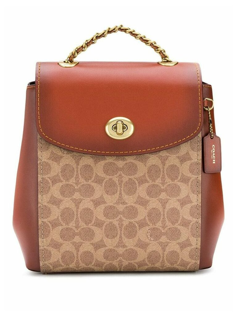 Coach signature logo backpack - Brown