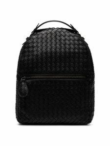 Bottega Veneta black intrecciato leather backpack