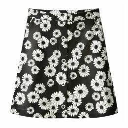 Daisy Print Buttoned Skirt