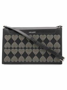 Saint Laurent studded hearts shoulder bag - Black