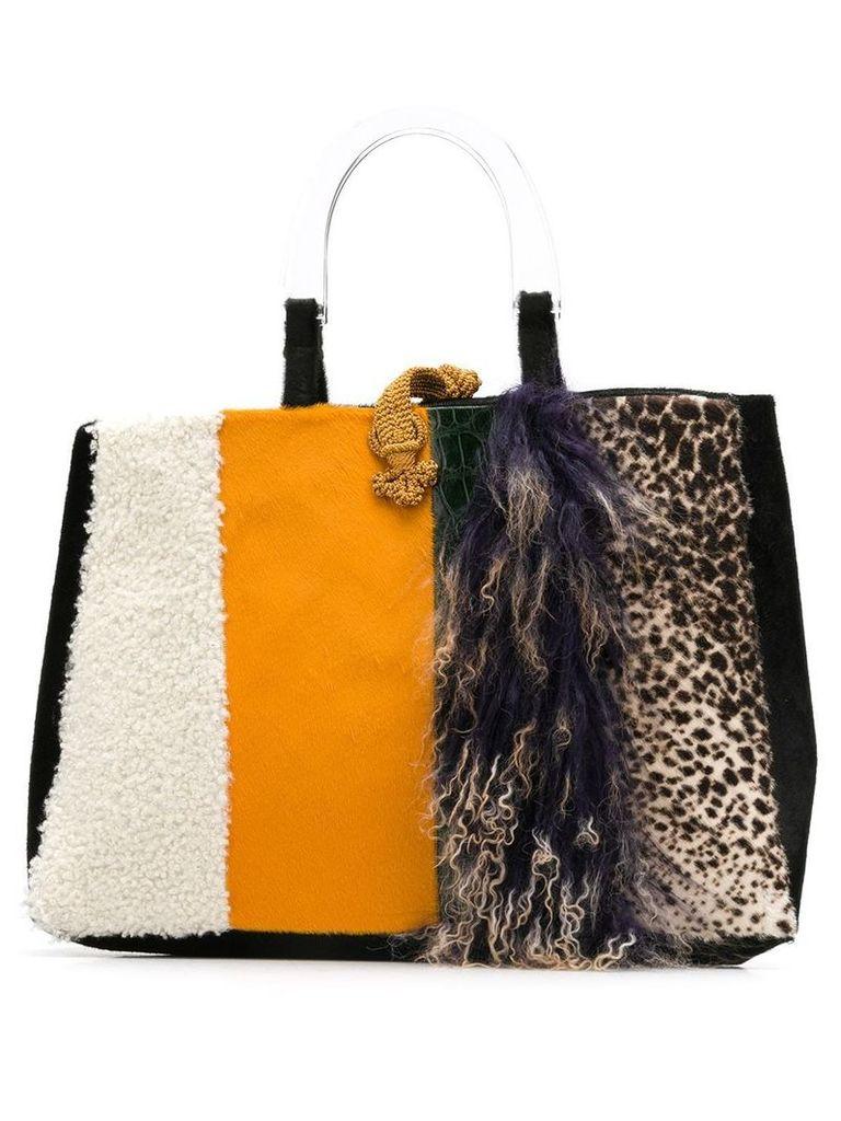 Liska goat fur and lamb fur tote - Orange