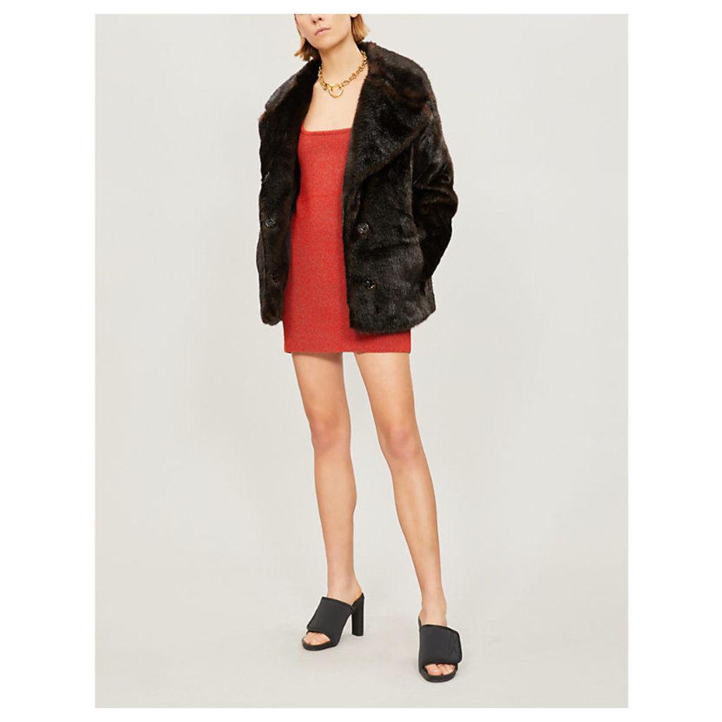 Notch-lapel faux-fur coat