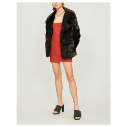 Notch-lapel faux-fur coat
