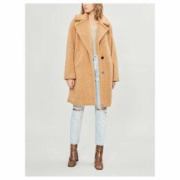 Notch-lapel faux-fur teddy coat
