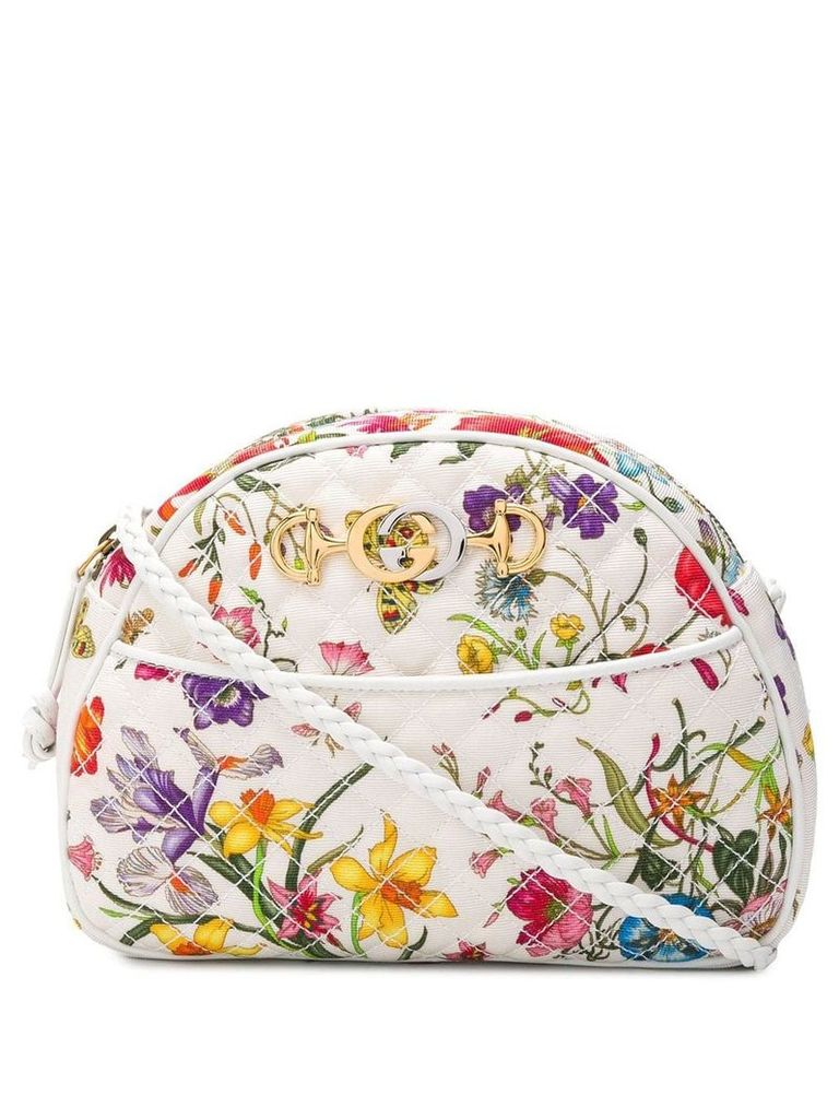 Gucci quilted floral crossbody bag - White