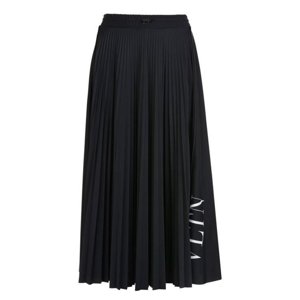 VALENTINO Logo Pleated Midi Skirt